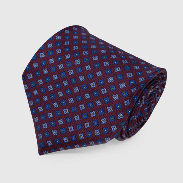 Burgundy with Blue and Grey Square Dots Pattern Silk Tie