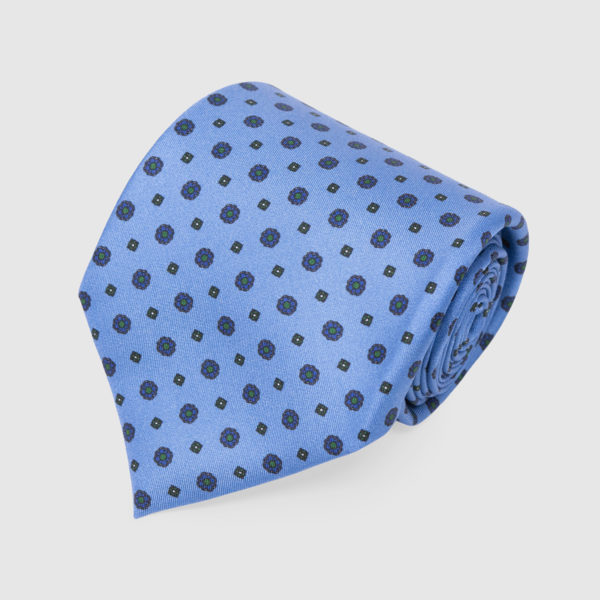 Light Blue with small flowers Pattern Silk Tie