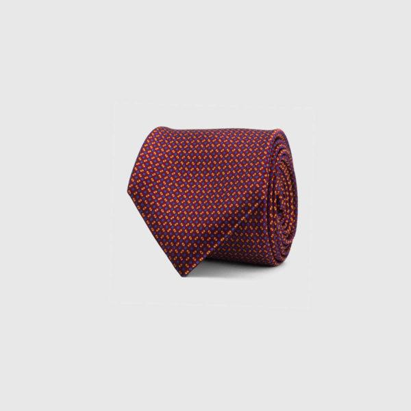 Silk Necktie in Mulberry Micro