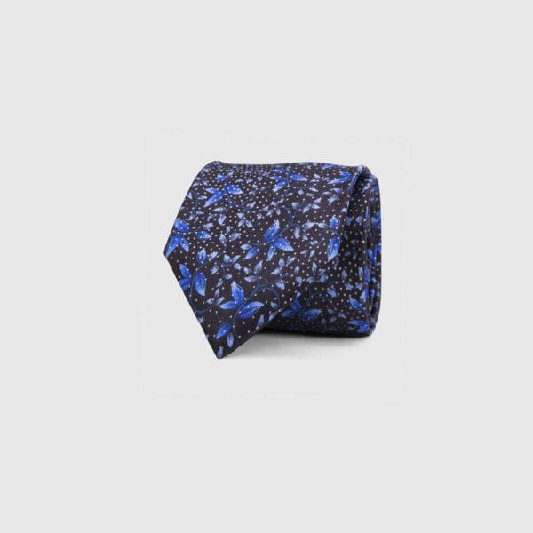 Silk Necktie in Indigo Floral