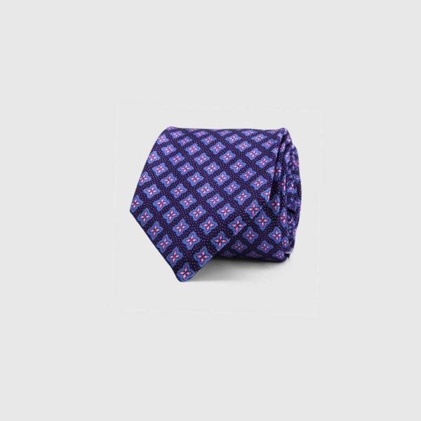 Silk Necktie in Plum Micro