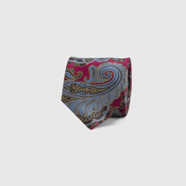 Silk Necktie in Red & Blue Paisley