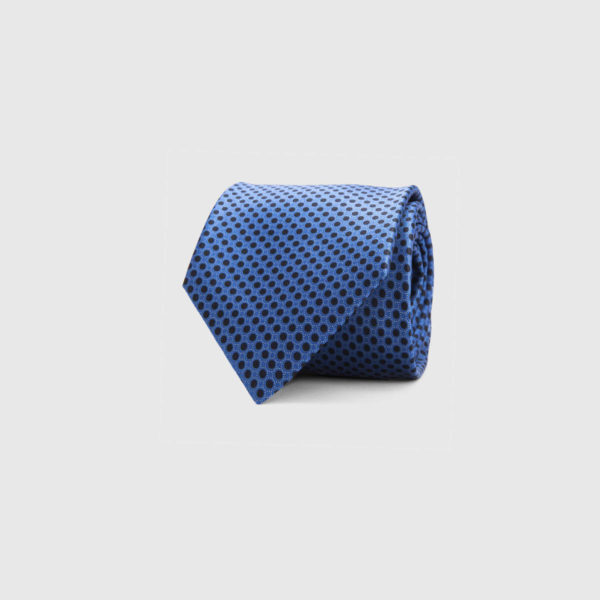Silk Necktie in Cobalt Micro