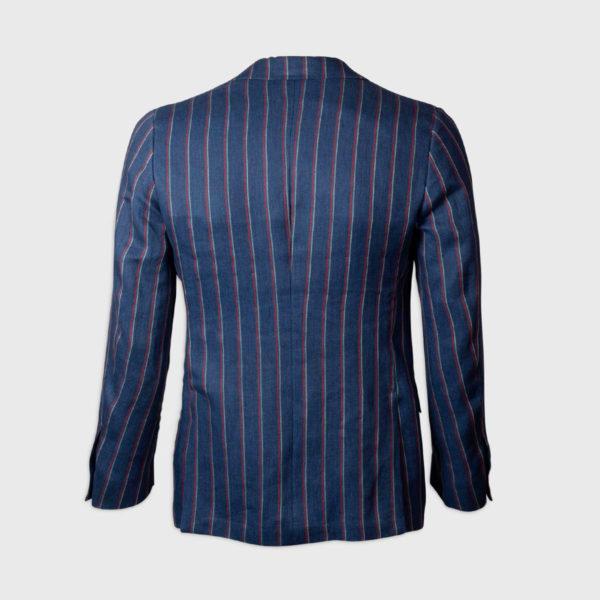 Giacca monopetto a righe in Cotone-Lino – Blu
