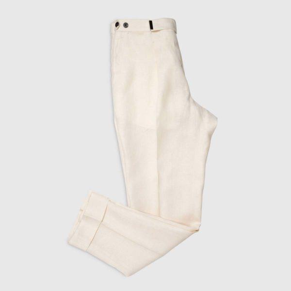 Pantalone panna 1 pince in Lino Irlandese