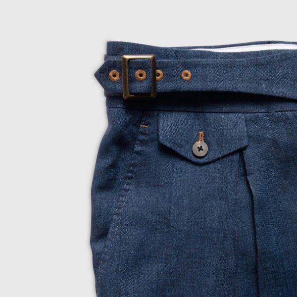 Pantalone Gurkha 1 Pince in Lino effetto Denim