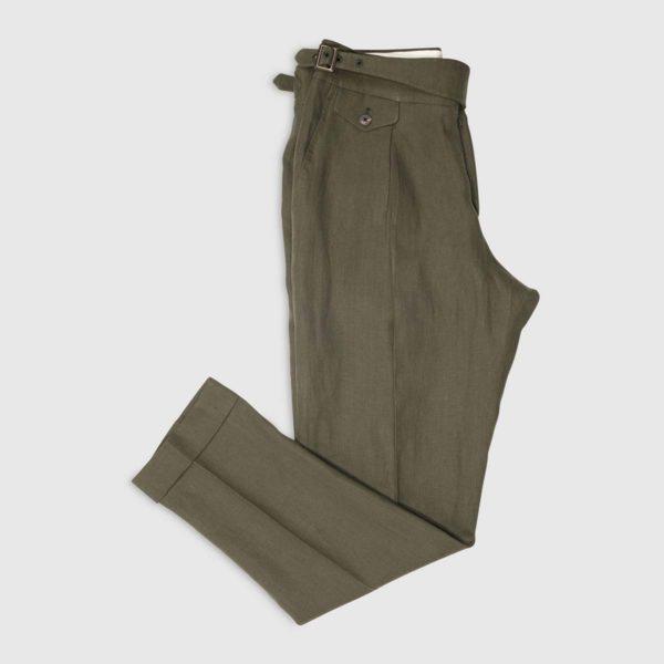 Pantalone Gurkha 1 pinces in Lino irlandese Verde