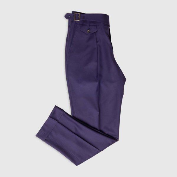 Pantaloni Viola 1 Pince in Lana 150'S