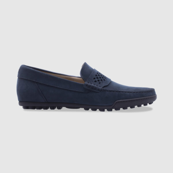 Driving shoe in nubuck with saddle – blue