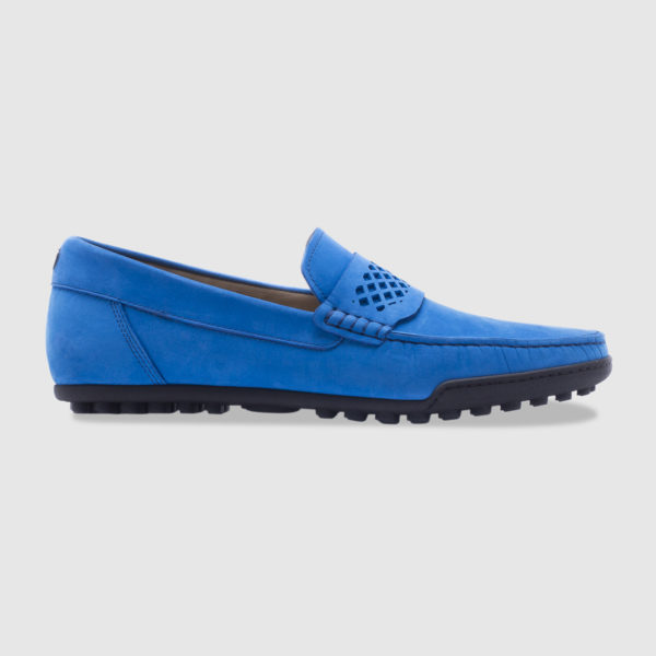 Driving shoe in nabuck with saddle – azure
