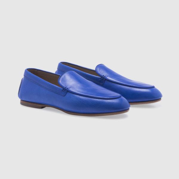 Slip-on in nappa blu zaffiro