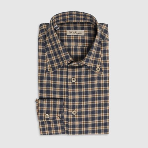 Camicia Button-Down Check in Cotone Bordeaux-Bluette