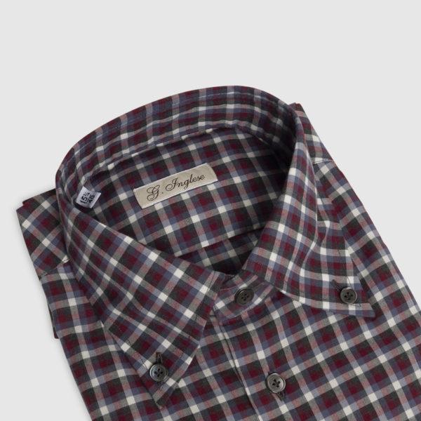 Camicia Check Button-Down in Cotone Bordeaux-Grigio