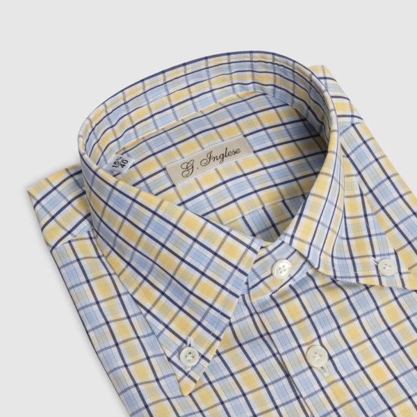 Camicia Check Button-Down in Cotone Giallo-Blu