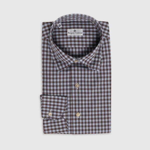 Camicia Check Marrone in Cotone