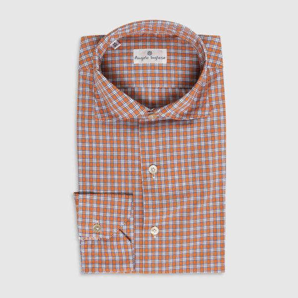 Camicia Check in Cotone Arancio