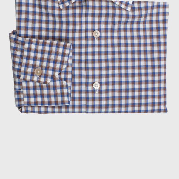 Camicia Check in Cotone Bianco-Blu-Marrone