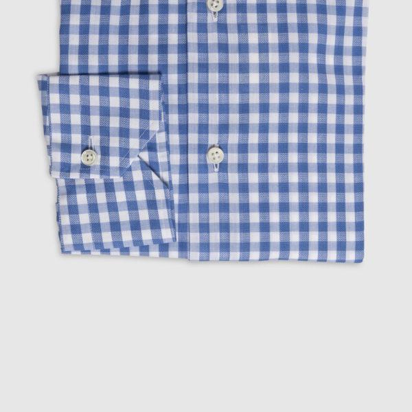 Camicia Check in Cotone Celeste-Bianco