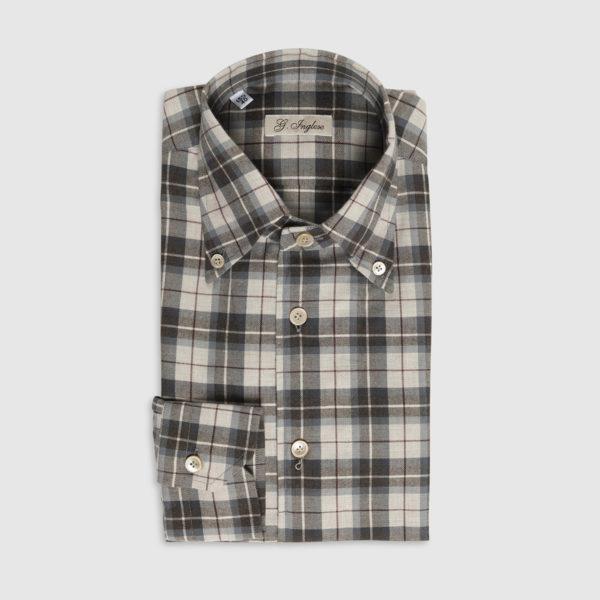 Camicia Check in Cotone Marrone-Azzurro