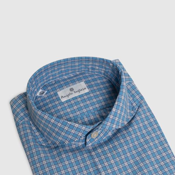 Camicia Check in Cotone Turchese