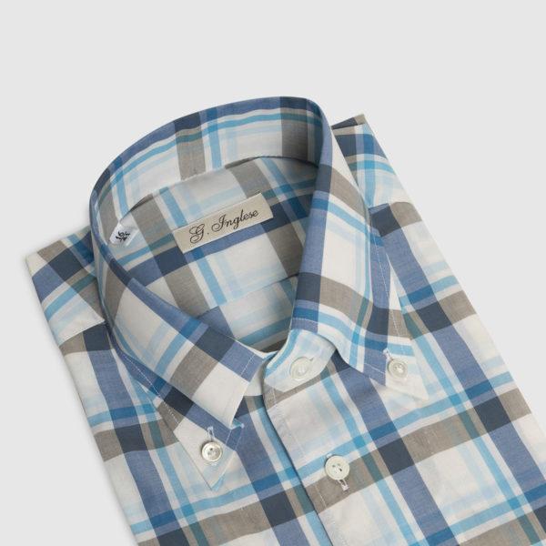 Camicia Galles Button-Down Turchese Bianco