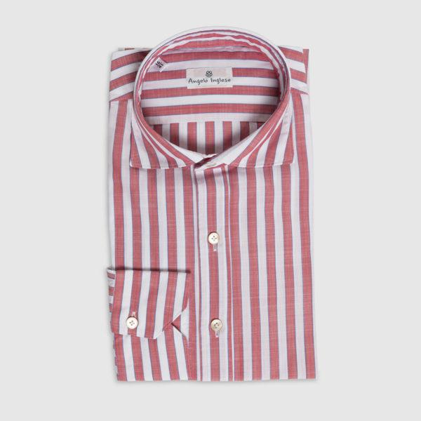 Camicia Rigata in Chambray di Cotone Rosso-Bianco