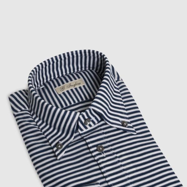 Camicia Rigata in Piquet Blu-Bianco