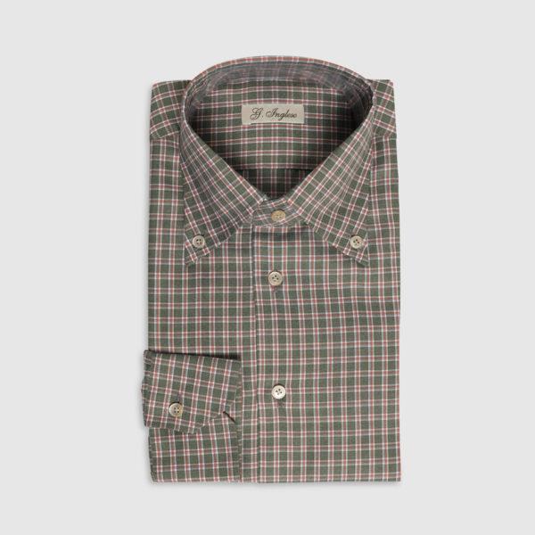 Camicia Tartan Button-Down in Cotone Verde