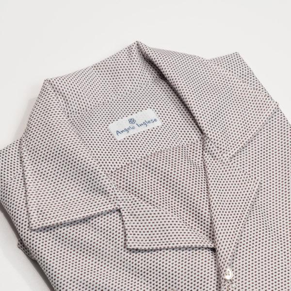 Camicia con Collo sportivo micropattern Marrone