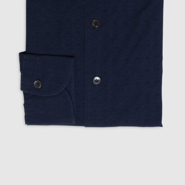 Camicia in Jacquard di Cotone Bluette