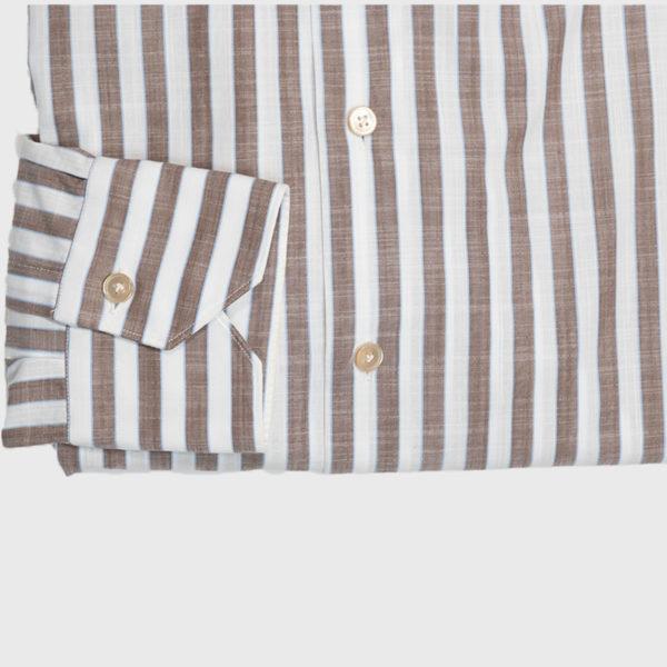 Camicia riga larga Marrone-Bianco