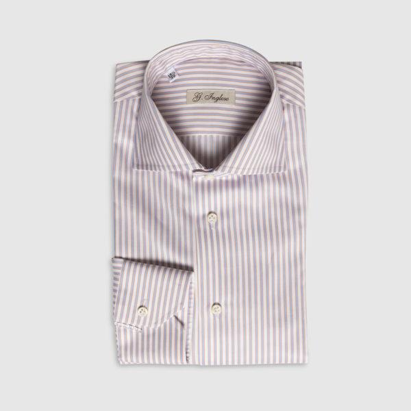 Camicia rigata in Cotone Celeste-Arancio