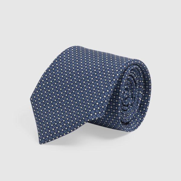 Cravatta in Seta Blu con pois bianchi