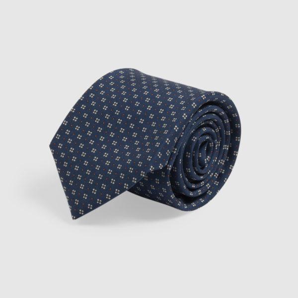 Cravatta in Seta blu con microfantasia