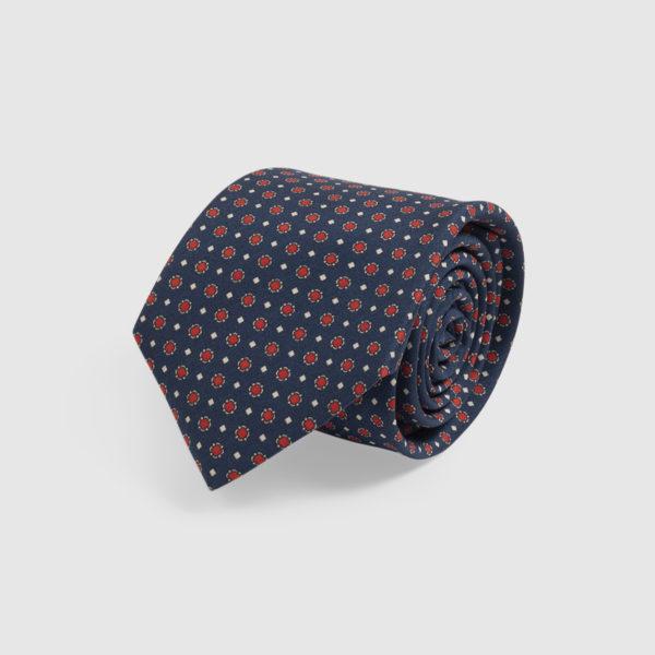 Cravatta in Seta blu con microfantasia rossa