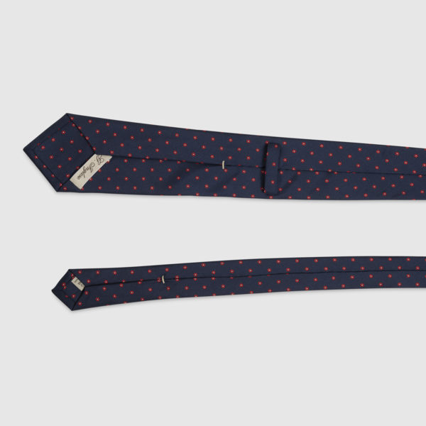Cravatta in Seta blu navy con microfantasia floreale