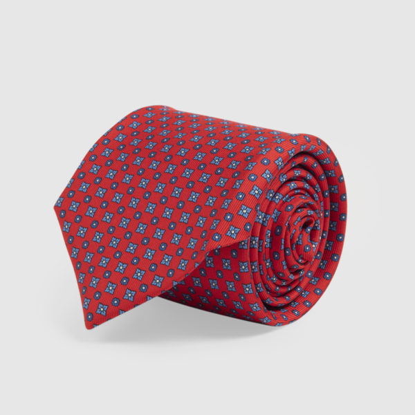 Cravatta in Seta rossa con microfantasia blu