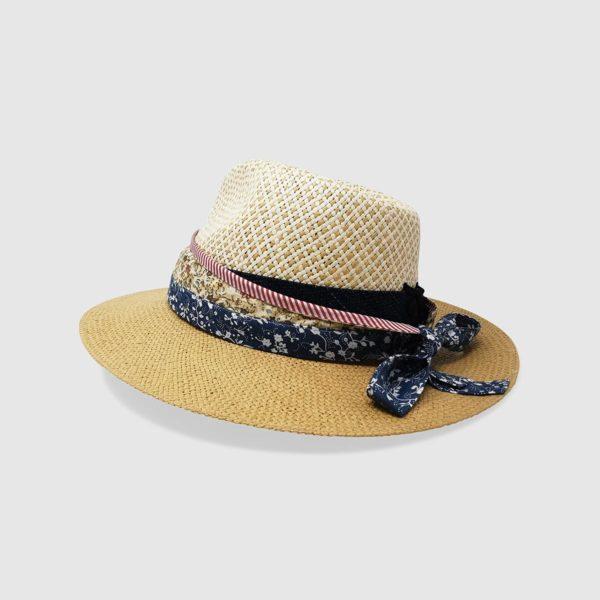 Cappello in Papier Bicolore, cinta Denim e fascia Obi