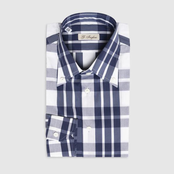 G.Inglese Camicia Macro Check Navy Button-down