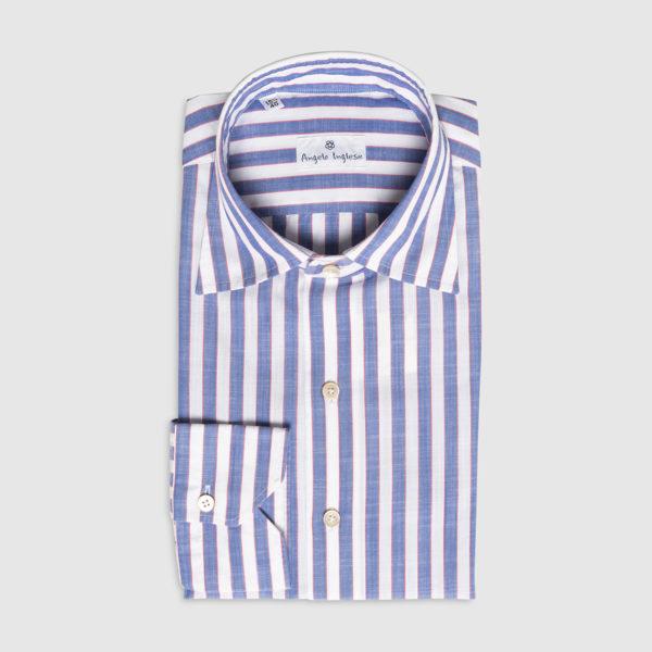 G.Inglese Camicia Rigata Chambray di Cotone