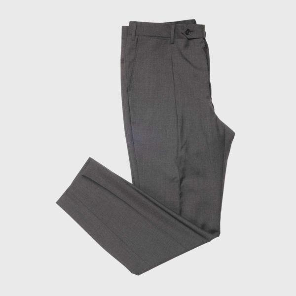Pantalone 1 Pince in Lana Super 100's in grigio medio