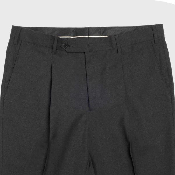 Pantalone 1 Pince in Lana Super 100's in grigio scuro
