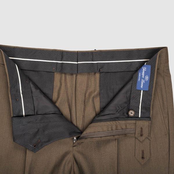 Pantalone 1 pince in lana Super 100's marrone