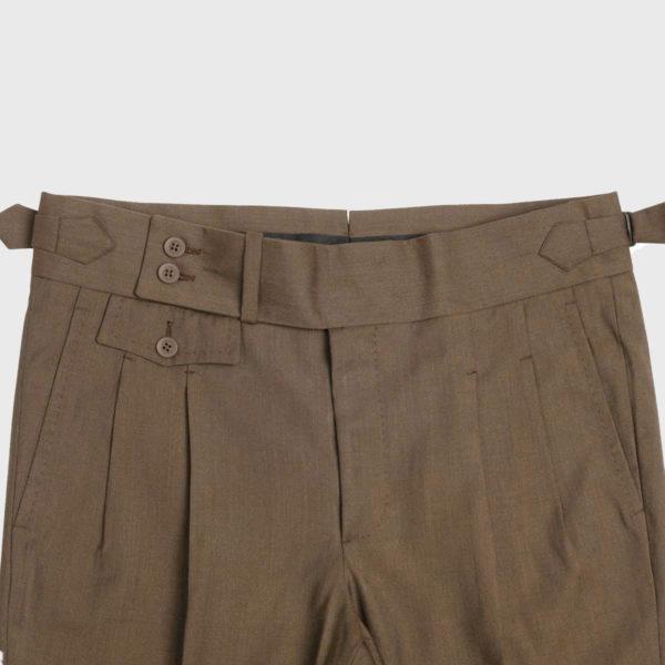 Pantalone Marrone 2 Pinces in Lana 100s