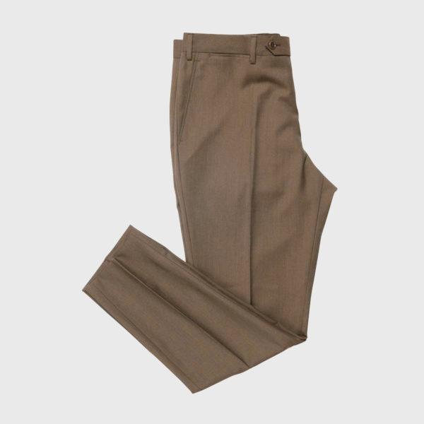 Pantalone senza pince in lana Super 100's marrone