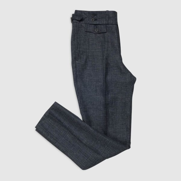 Pantalone Blu 2 Pinces in Lino/Lana Super 120's