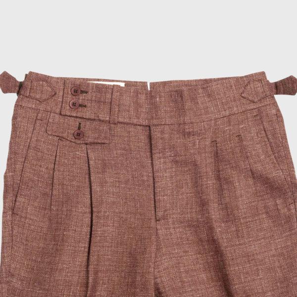 Pantalone Burgundy 2 Pinces in Lino/Lana Super 120's