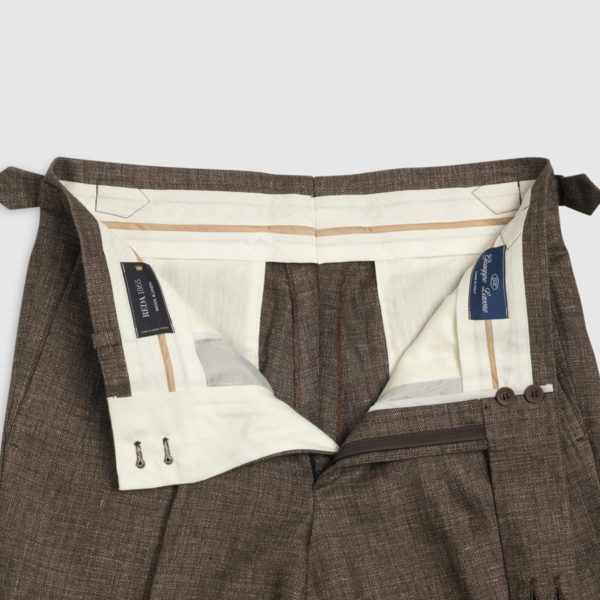 Pantalone Marrone 2 Pinces in Lino/Lana Super 120's