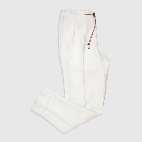 Pantalone Jogging 2 pinces in Lino Bianco