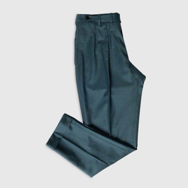 Pantalone Verde 2 Pinces in Lana 150's